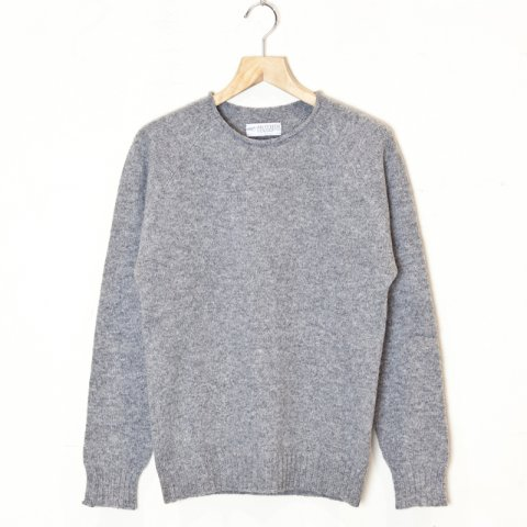 MOTHER HAND artisan  * DINANT Shetland Wool Raglan Crew Neck Sweater * Medium Gray