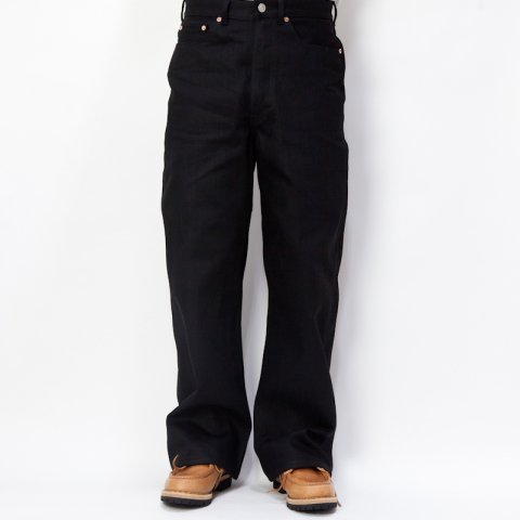 DAWSON DENIM * Wide Leg Jeans 14oz  Black×Black Red Line Selvedge