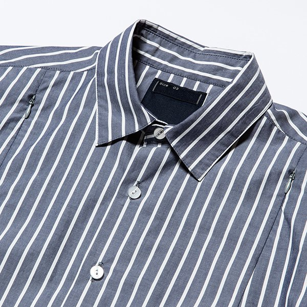 meanswhile * Stripe Ventilate Short Sleeve Shirt * Navy/White