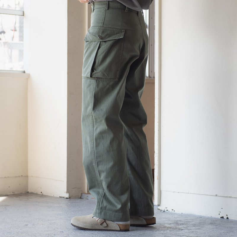 DEADSTOCK * Made in France M-43 Type Herringbone Twill Trousers * Olive T40C