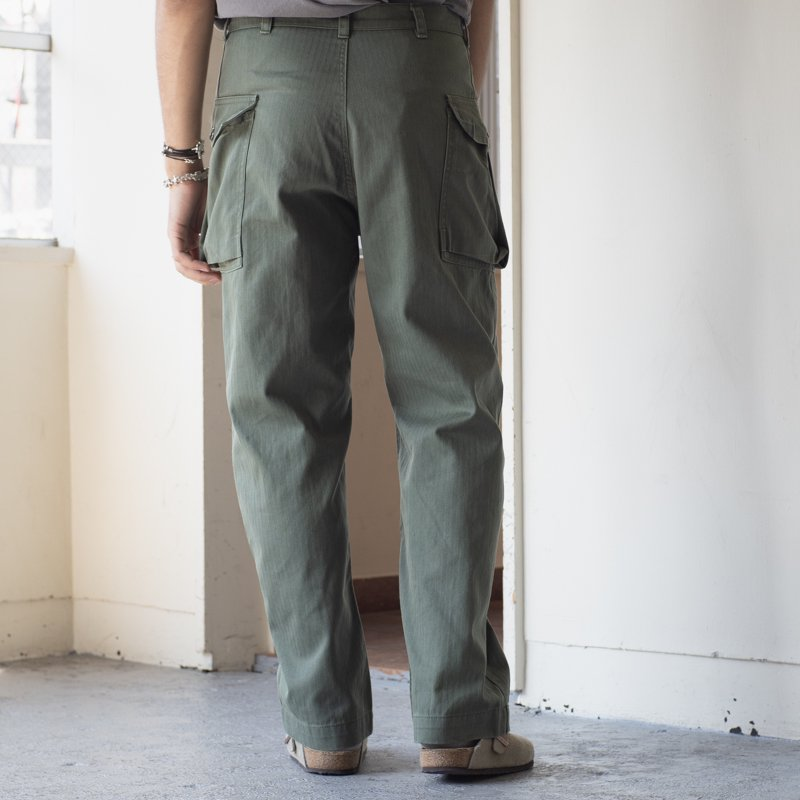 DEADSTOCK * Made in France M-43 Type Herringbone Twill Trousers * Olive T42