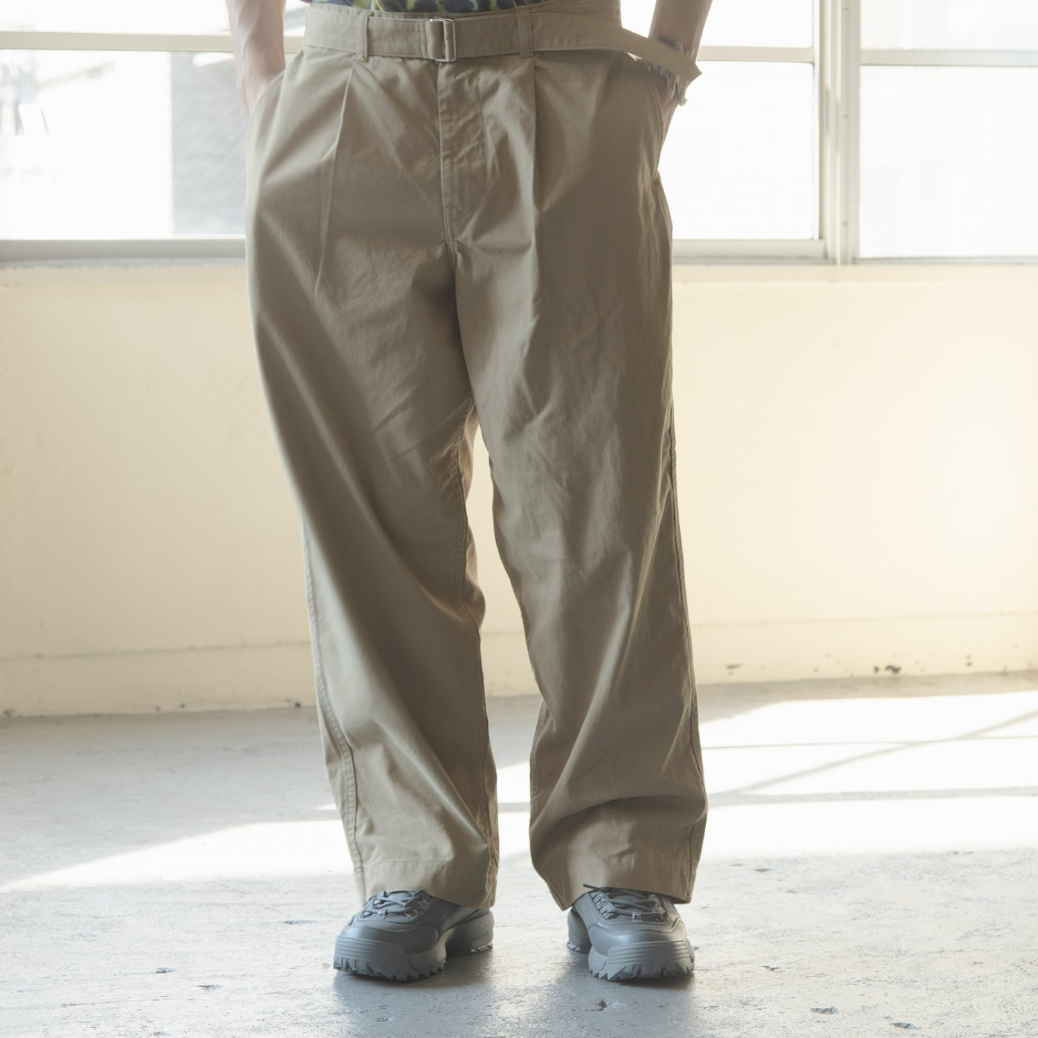 Graphpaper * Military Cloth Belted Pants * Beige