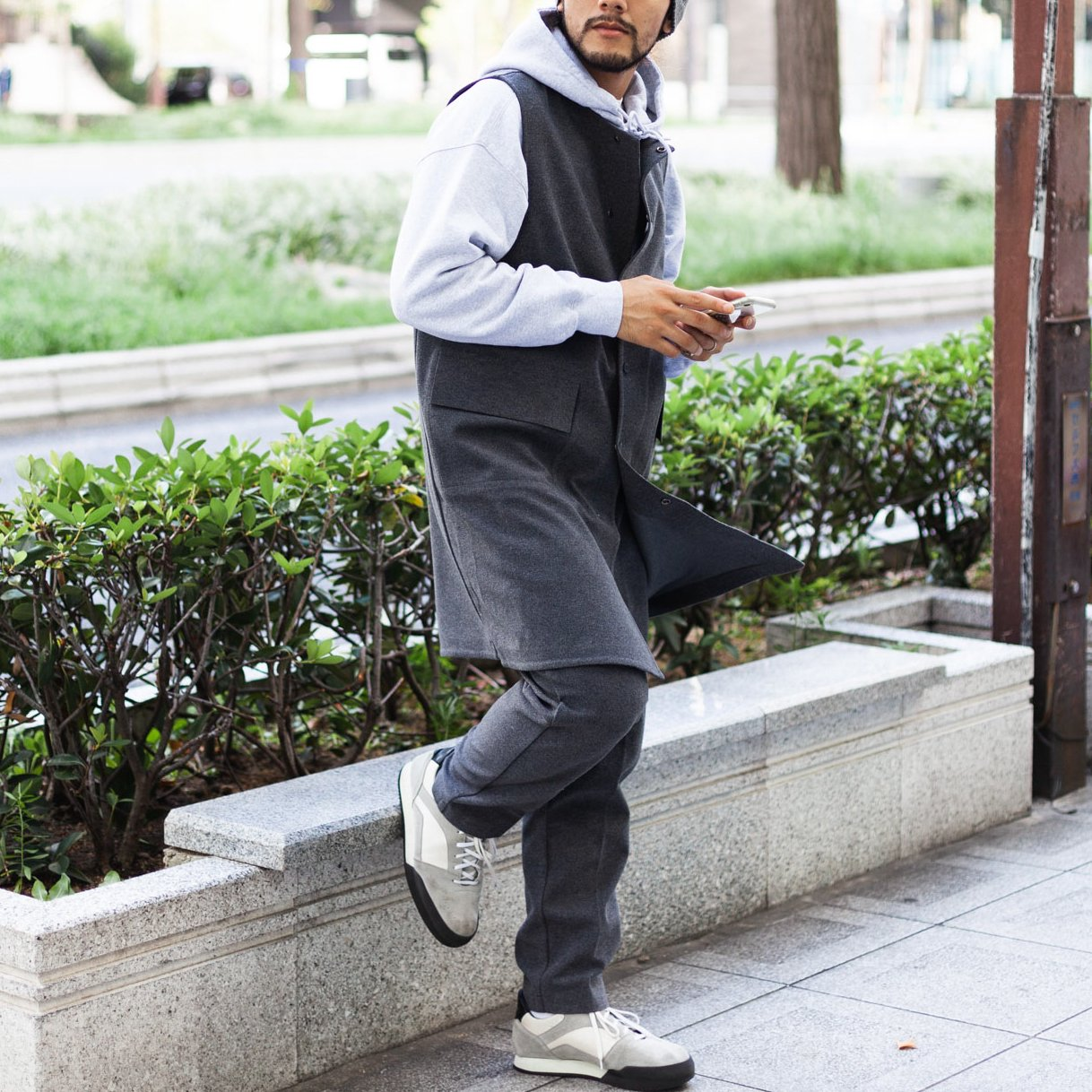 DESCENTE PAUSE  * MOLE LONG VEST * Gray