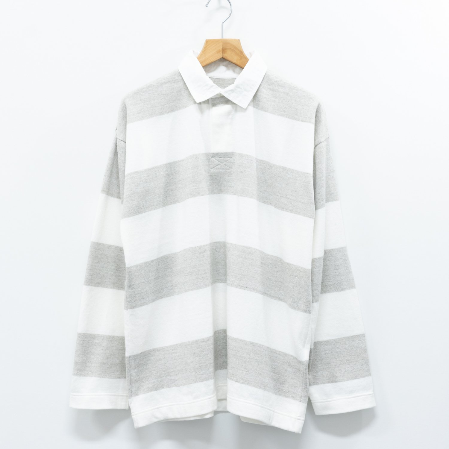 ts(s) * Extra Soft Twistiess Cotton Yarn Knit Border Stripe Rugby Shirt * Off White