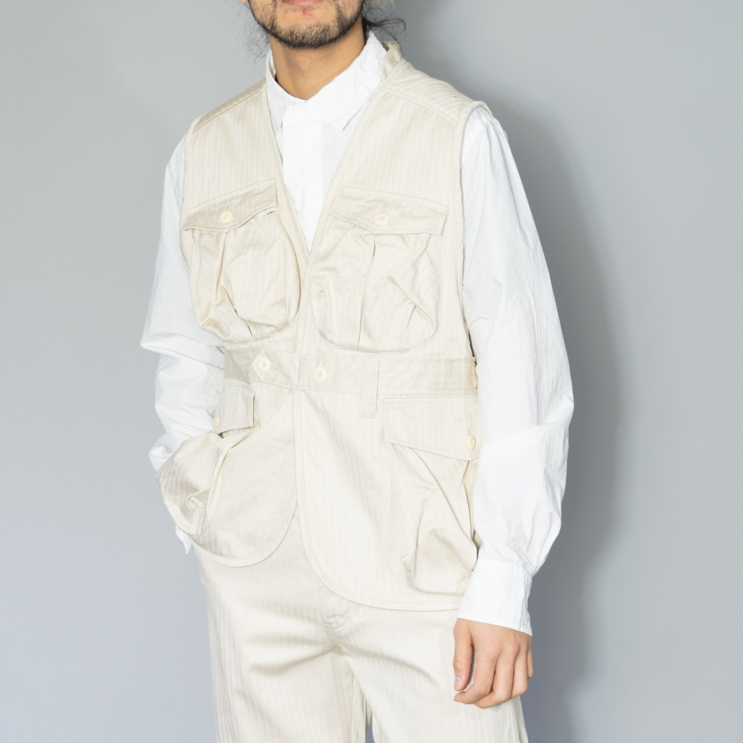 ts(s) * Supima Cotton Herringbone Cloth Belted Field Vest * Off White