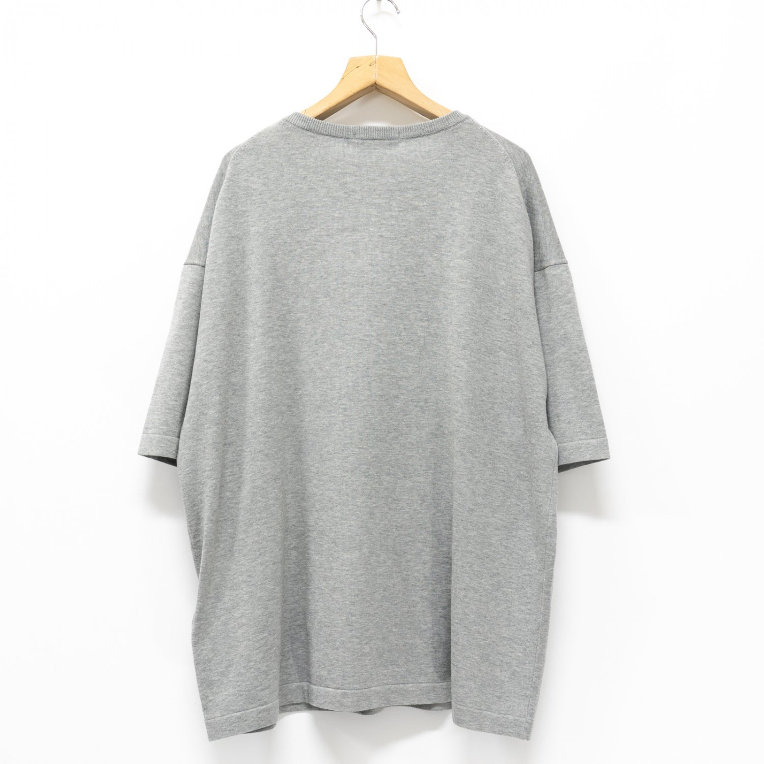 Graphpaper * Suvin S/S Henley Neck Knit * L.Gray