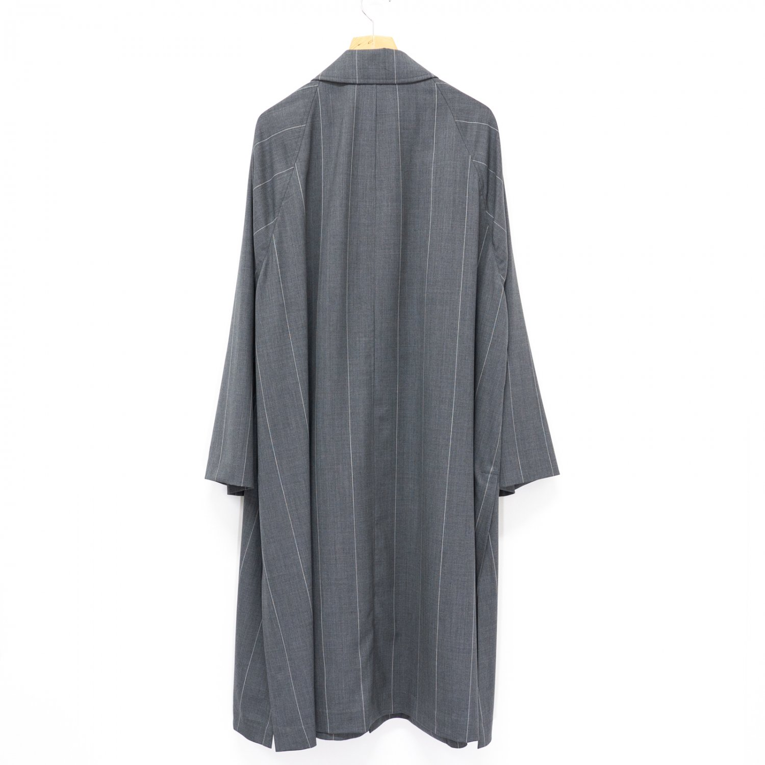 Graphpaper * Wide Stripe Wool Oversized Coat * Gray