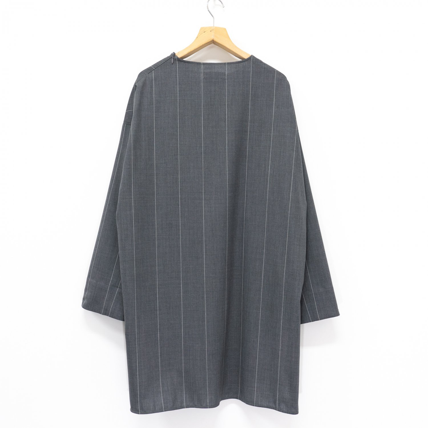 Graphpaper * Wide Stripe Wool Long Pullover * Gray