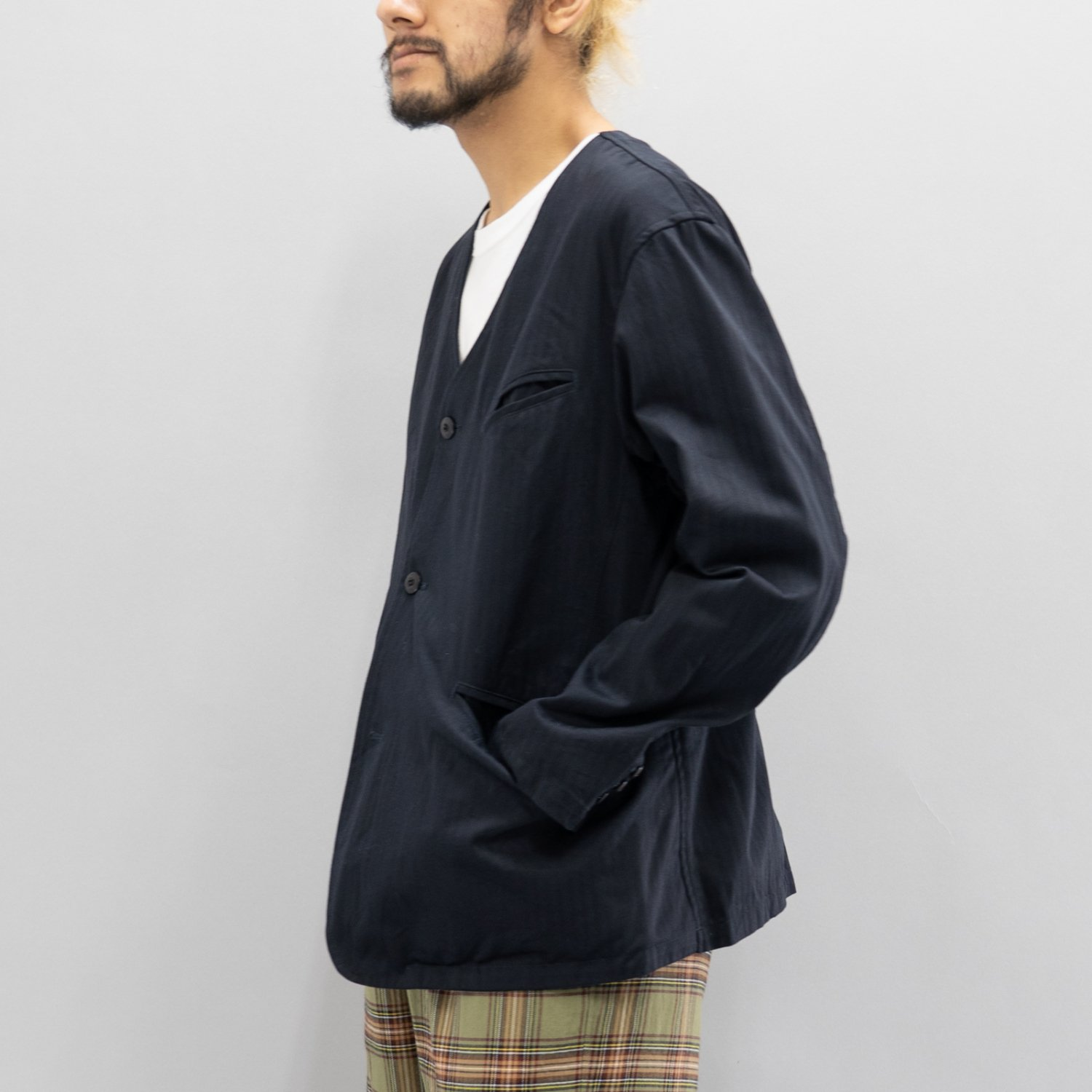 ts(s) * Supima Cotton Herringbone Cloth Collarless Jacket * Navy