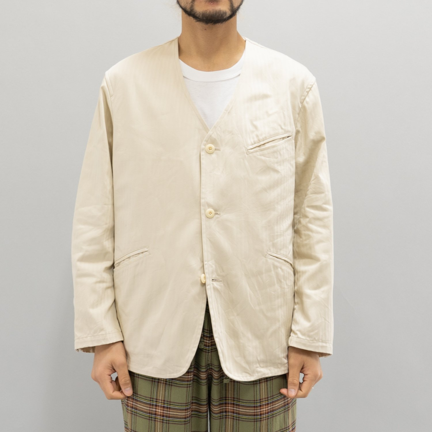 ts(s) * Supima Cotton Herringbone Cloth Collarless Jacket * Off White