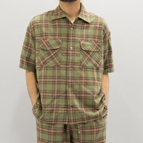 ts(s) * Tartan Plaid Cotton Viscose Twill Cloth Short Sleeve Round Flap Pocket Baggy Shirt * Olive