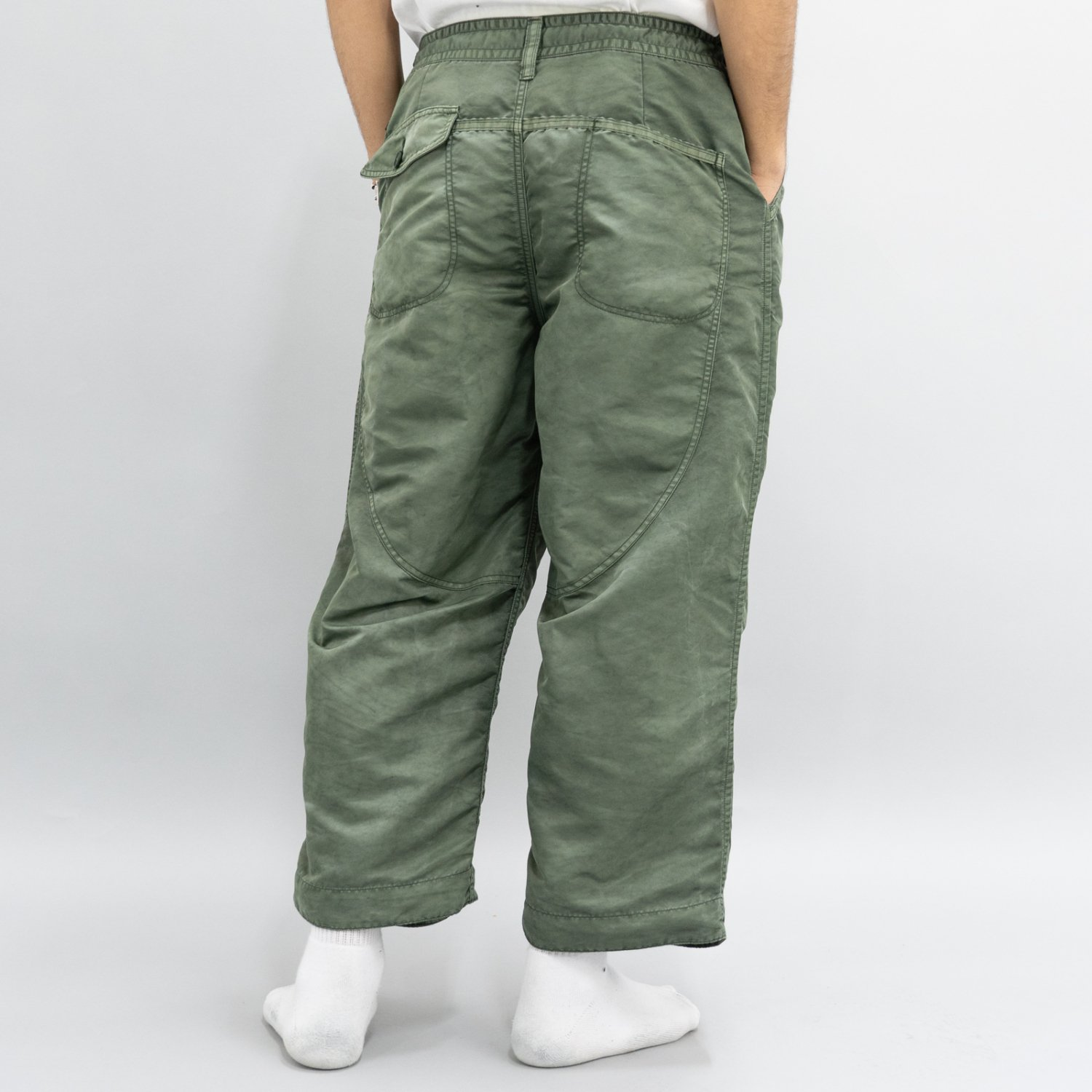 Porter Classic * SUPER NYLON MASH WIDE PANTS * Olive