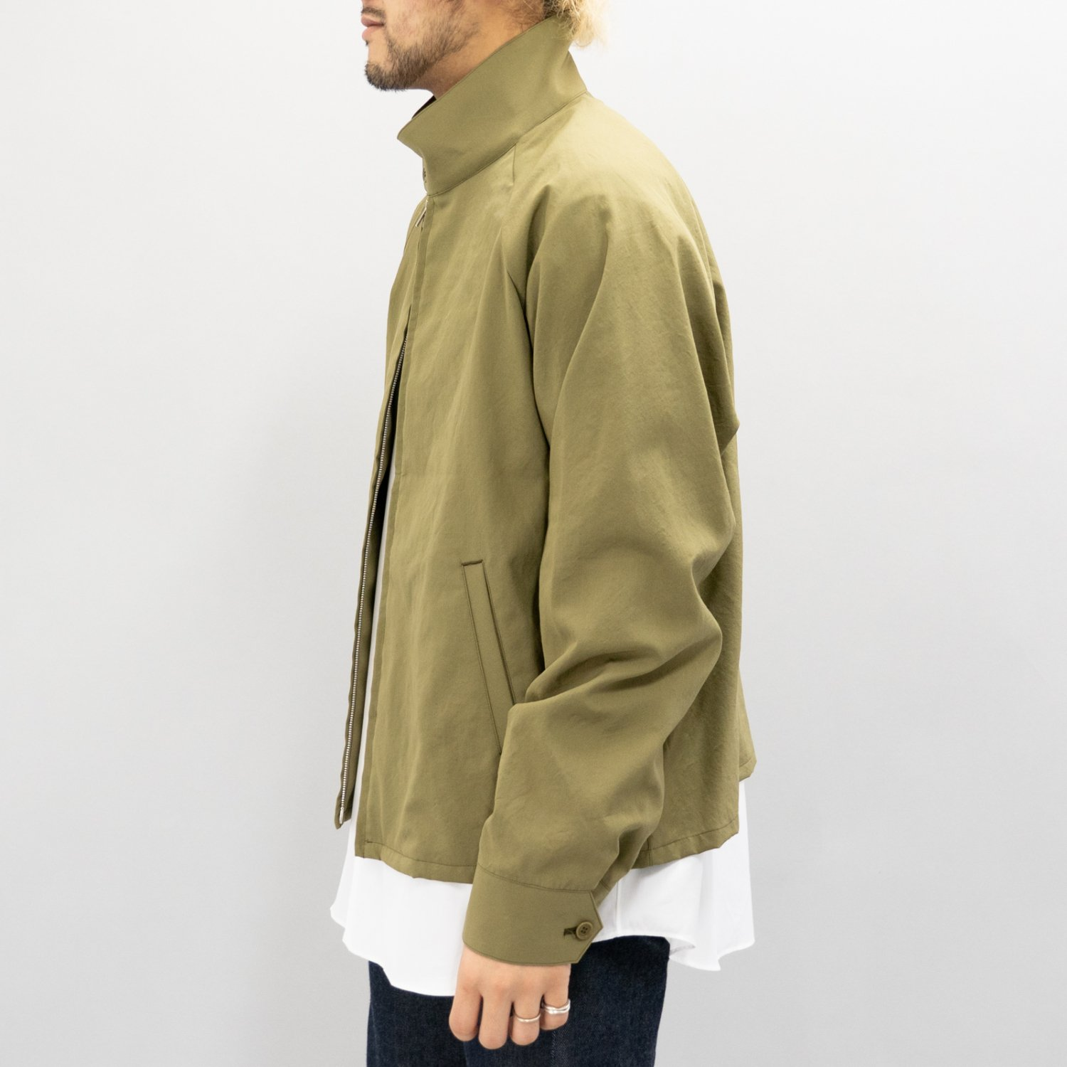 UNUSED * US1742 Wool Silk Jacket * Olive