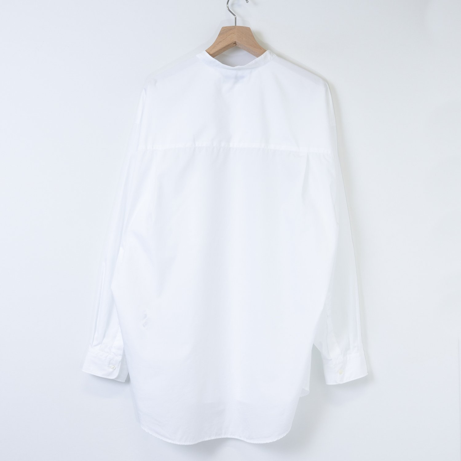 Graphpaper * Broad L/S Oversized Band Collar Shirt * White