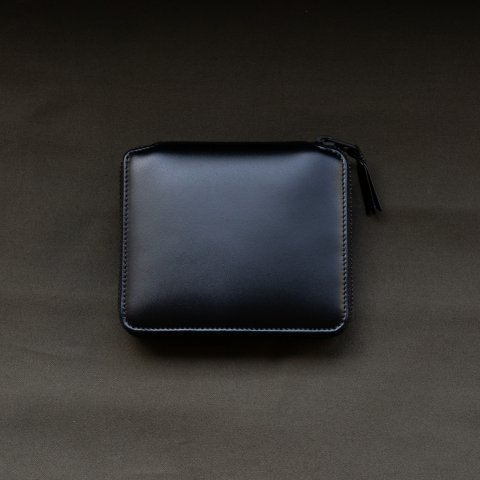 WALLET COMME des GARCONS * VERY BLACK LEATHER LINE ROUND ZIP WALLET * Black