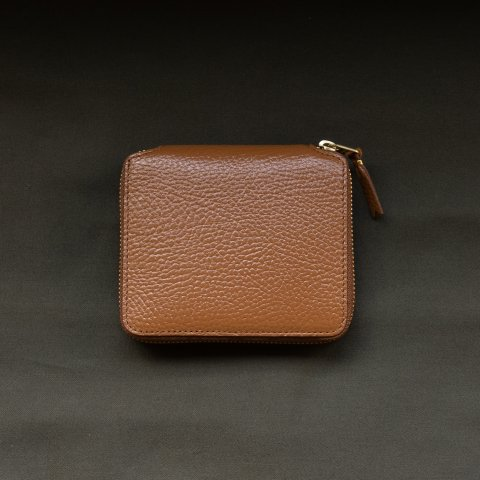 WALLET COMME des GARCONS * COLOUR INSIDE ROUND ZIP WALLET * Brown/Orange