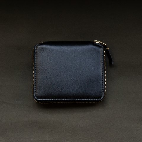 WALLET COMME des GARCONS * CLASSIC LEATHER LINE ROUND ZIP WALLET * Black