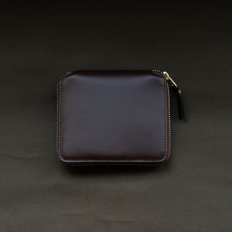WALLET COMME des GARCONS * CLASSIC LEATHER LINE ROUND ZIP WALLET * Brown