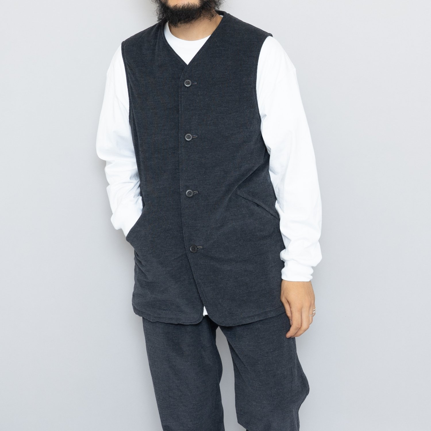 ts(s) * Fine Wale Heather Cotton Corduroy Cloth Padded Long Vest * Charcoal
