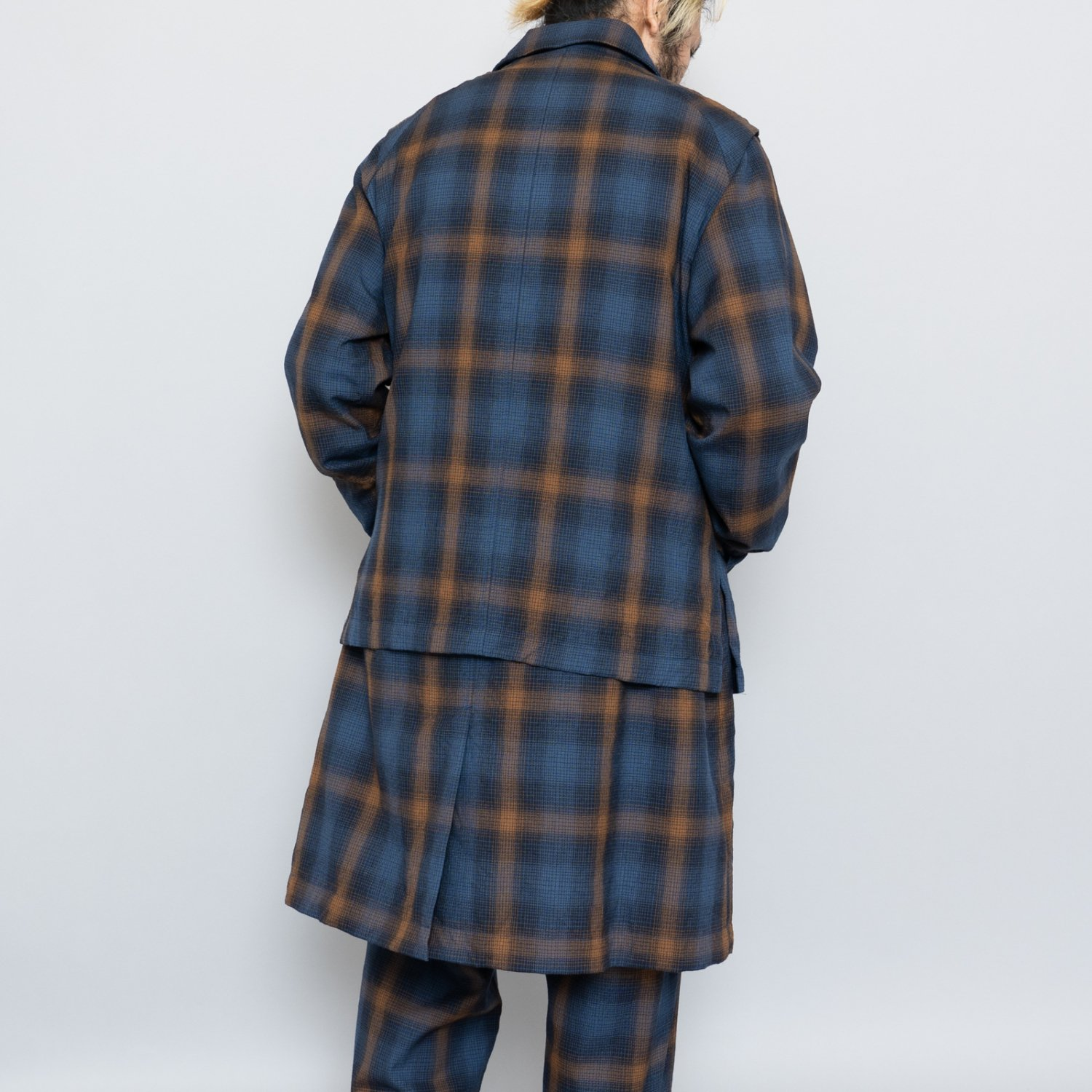 ts(s) * Ombre Plaid Wool Cloth Bal Coolar Fly Front Vest * Navy