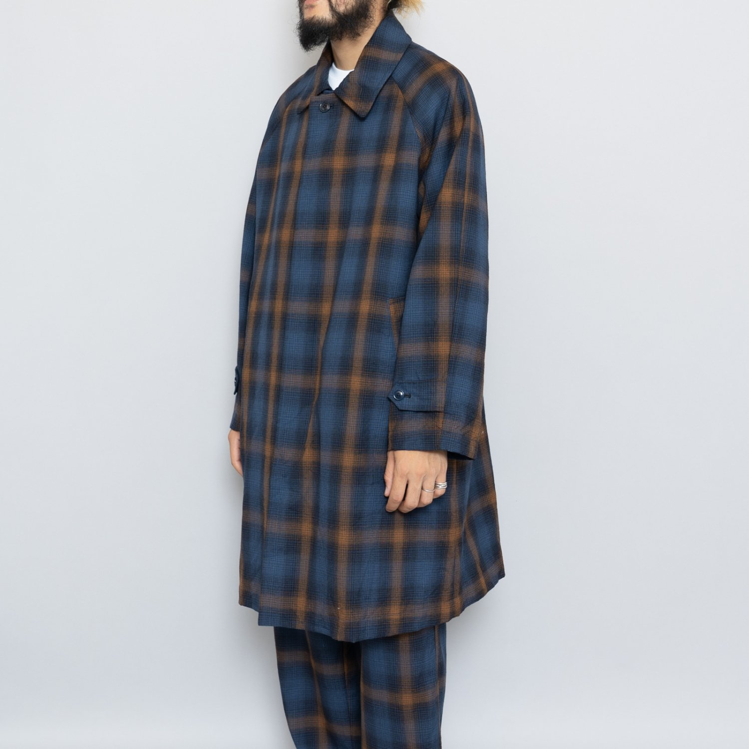 ts(s) * Ombre Plaid Wool Cloth Collarless Fly Front Raglan Sleeve Coat * Navy