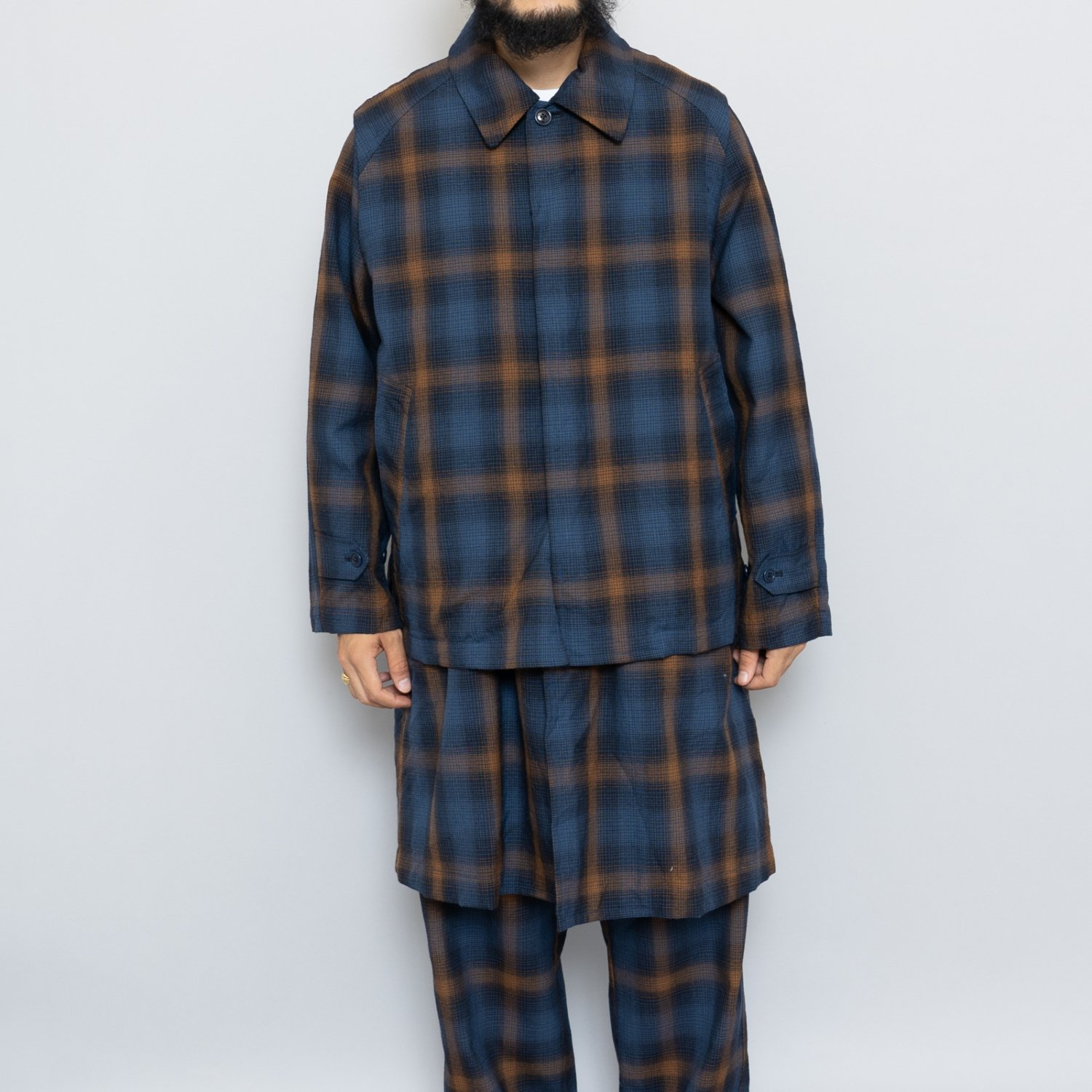 ts(s) * Ombre Plaid Wool Cloth Natural Tapered Pants * Navy