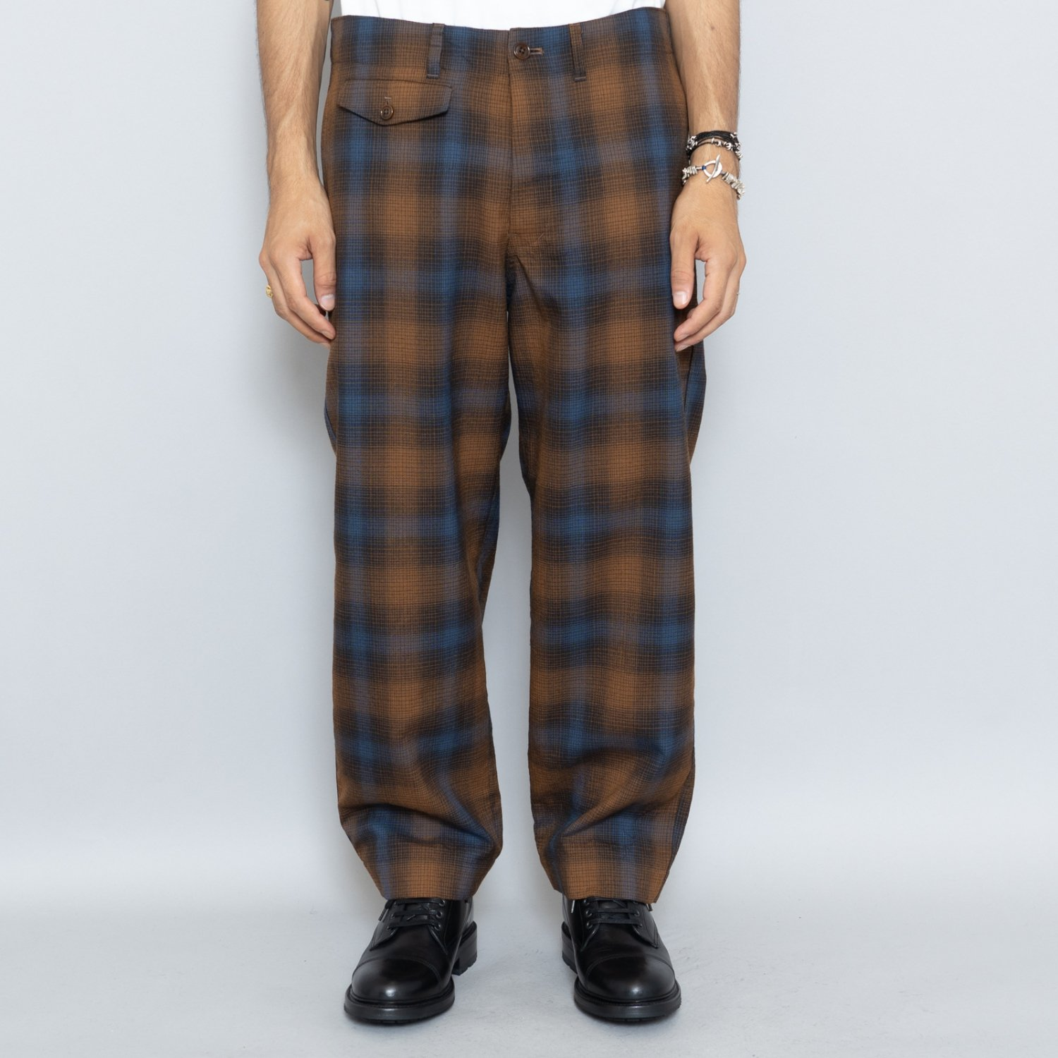 ts(s) * Ombre Plaid Wool Cloth Natural Tapered Pants * Brown
