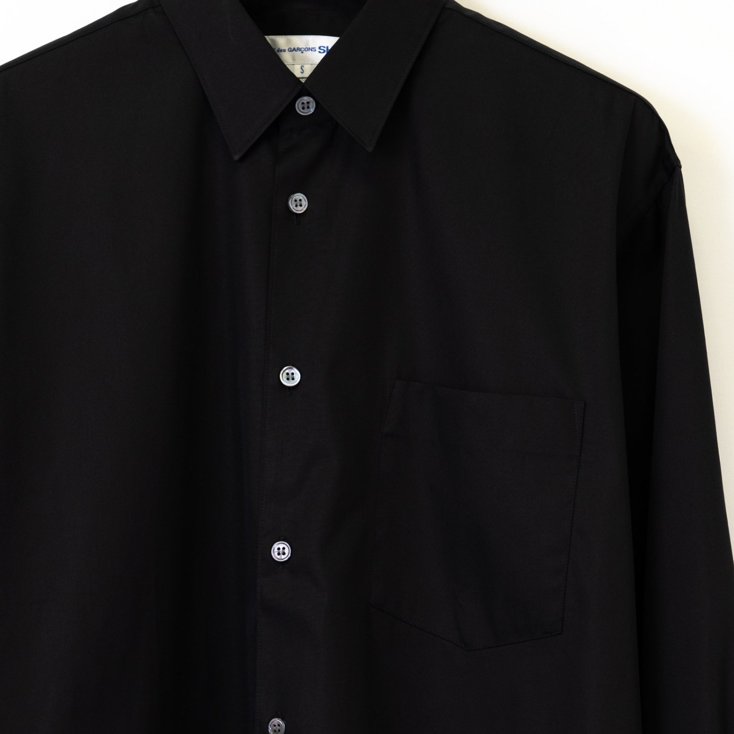 COMME des GARCONS SHIRT * Forever Wide Classic Plain Cotton Long Sleeve Shirt * Black