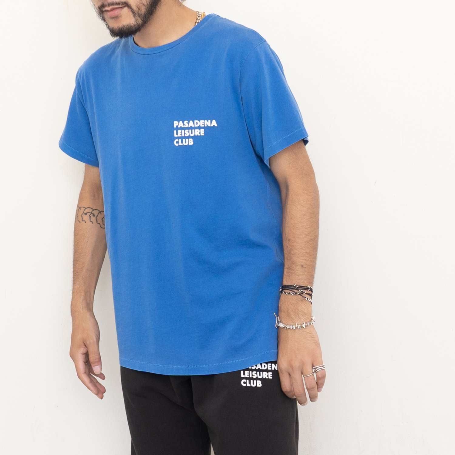 PASADENA LEISURE CLUB * Puff Logo Tee * Blue Pigment Dye