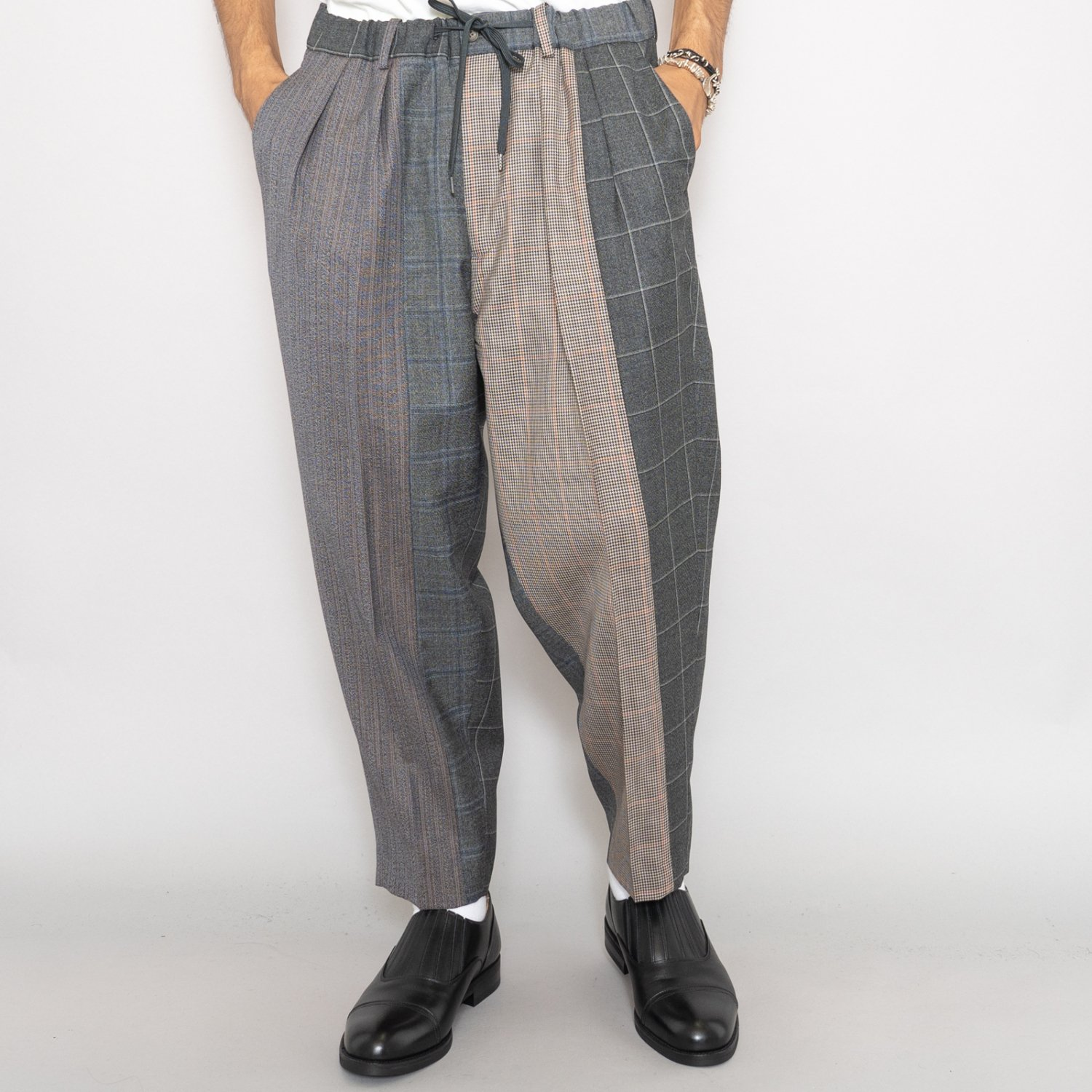 RICHFIELD * Multi Wool Wide Tapered Trousers * Multi Gray