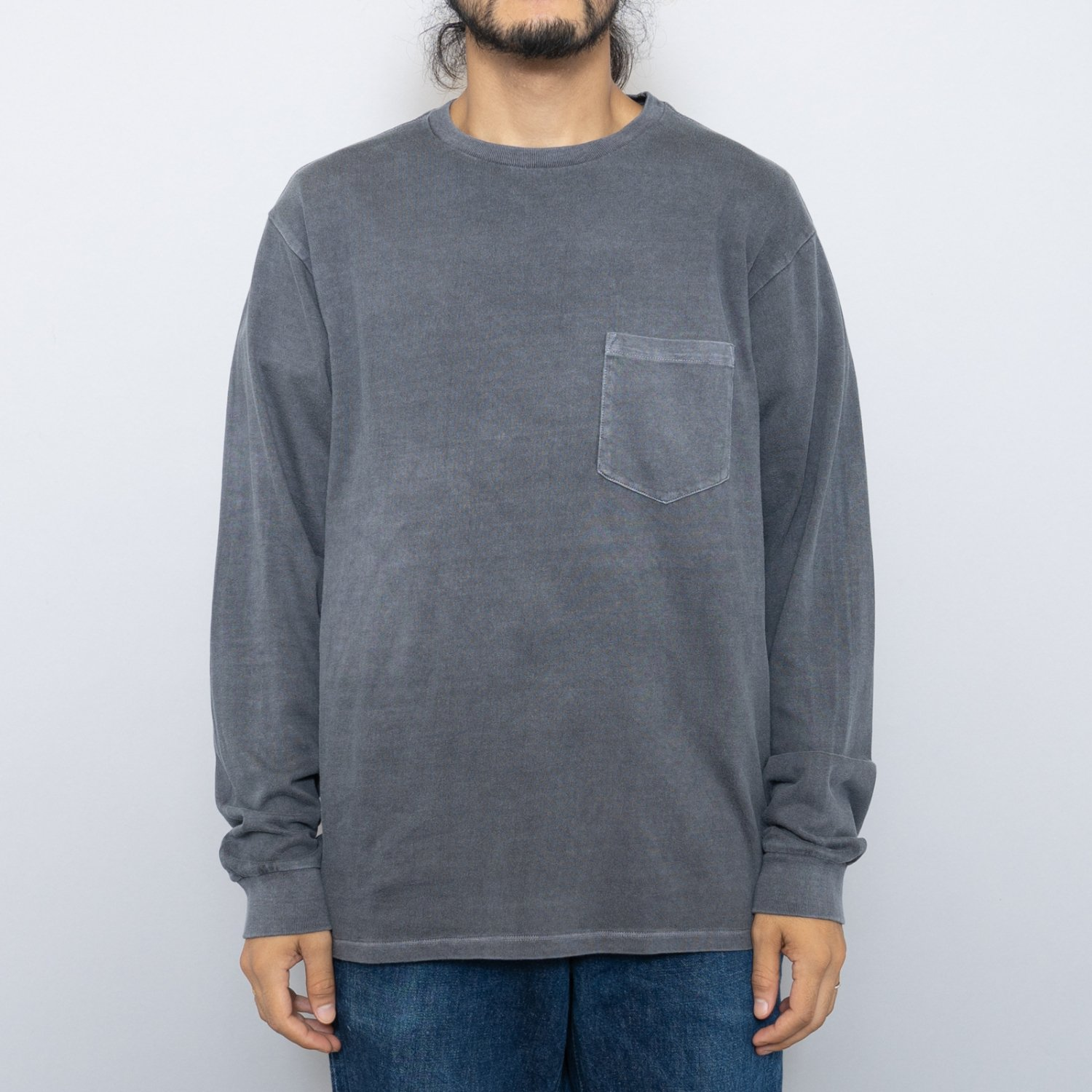 UNUSED * US1833 Overdyed L/S Pocket Tee * Black