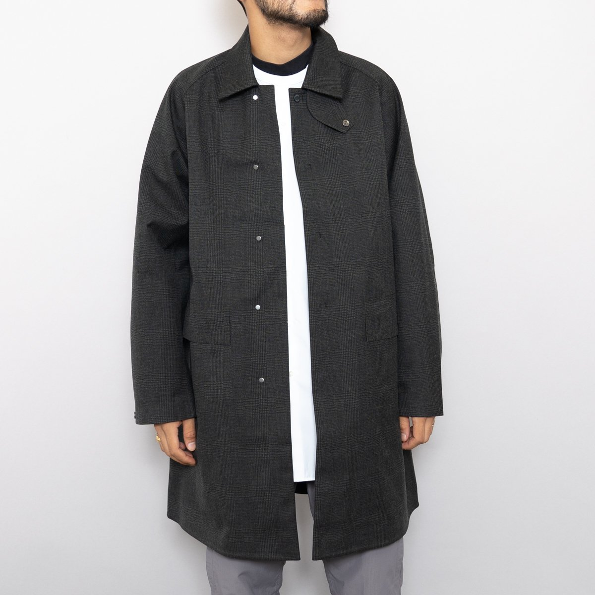 DESCENTE PAUSE * WOOL MIX SOUTIEN COLLAR COAT * Glen Check