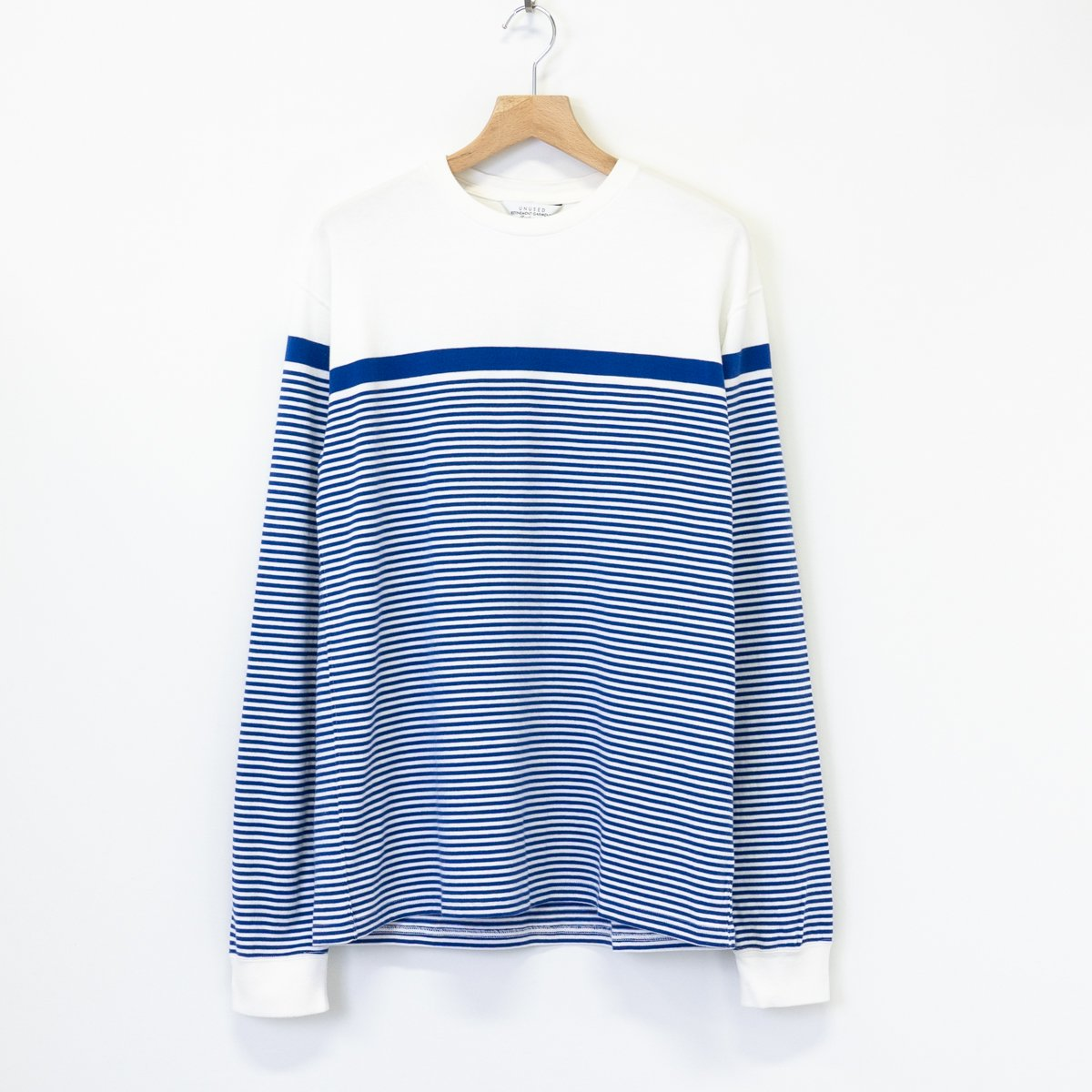 UNUSED * US1904 Panel Border Long Sleeve T-Shirt * White×Blue