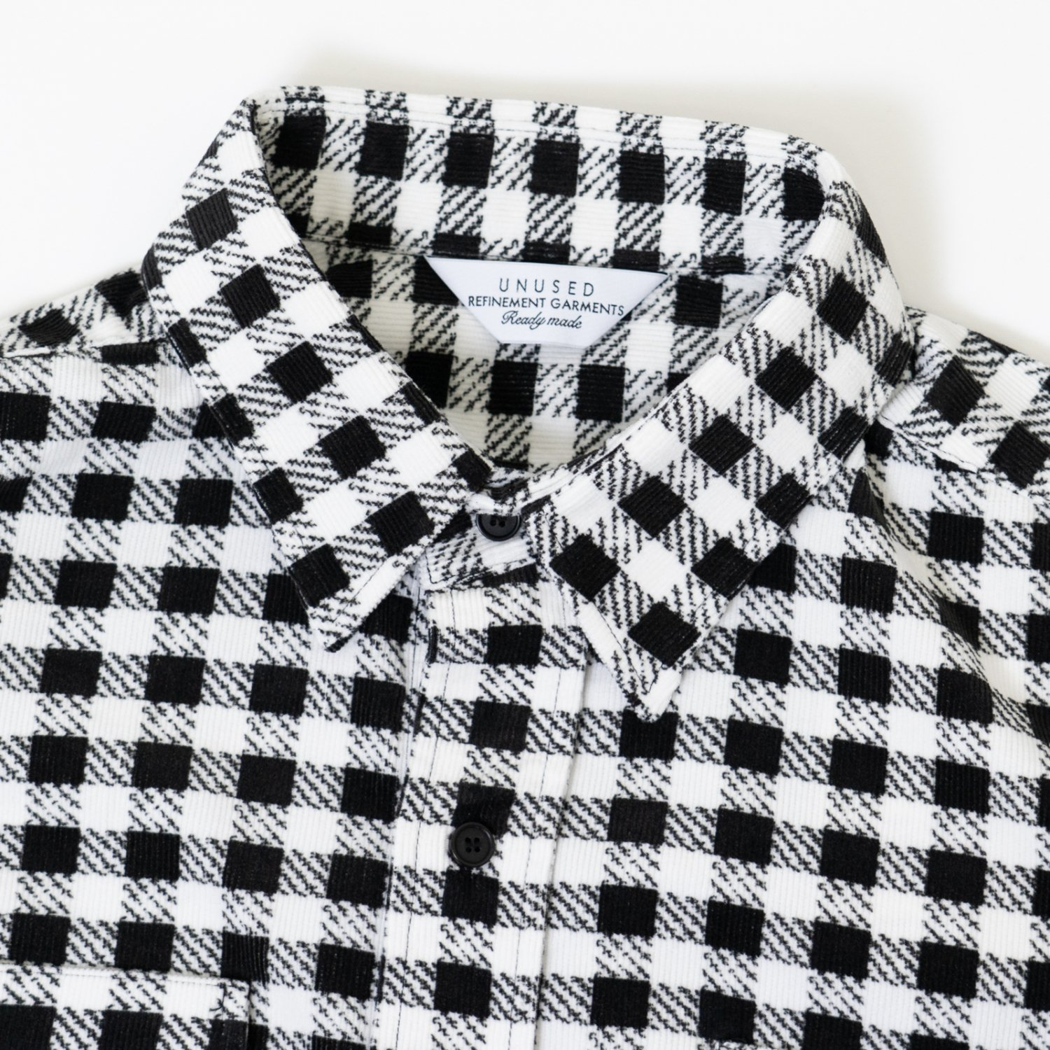 UNUSED * US1887 Hound Tooth Print Corduroy Shirt * White×Black