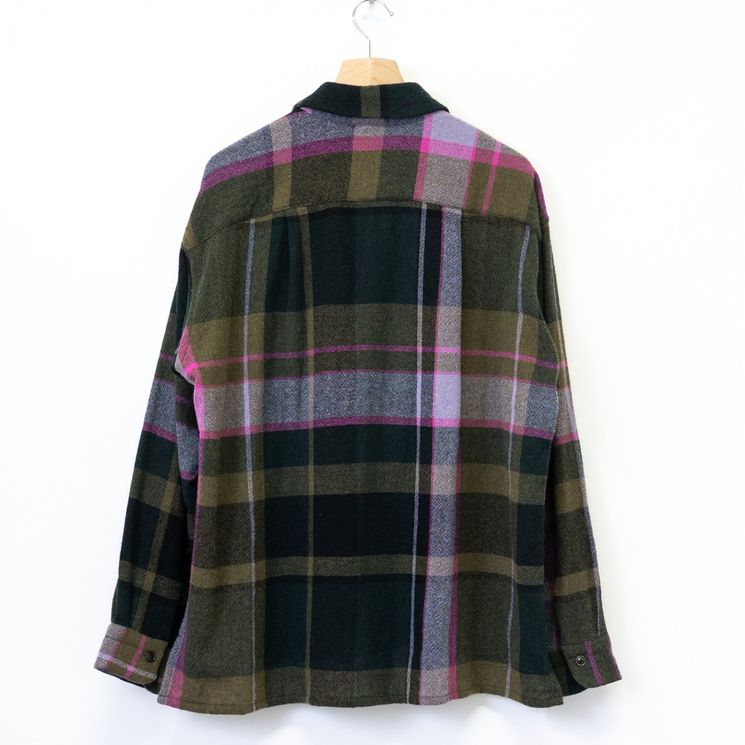 ts(s) * Large Pitch Color Plaid Wool Nylon Cloth Round Flap Pocket Baggy Shirt * Green