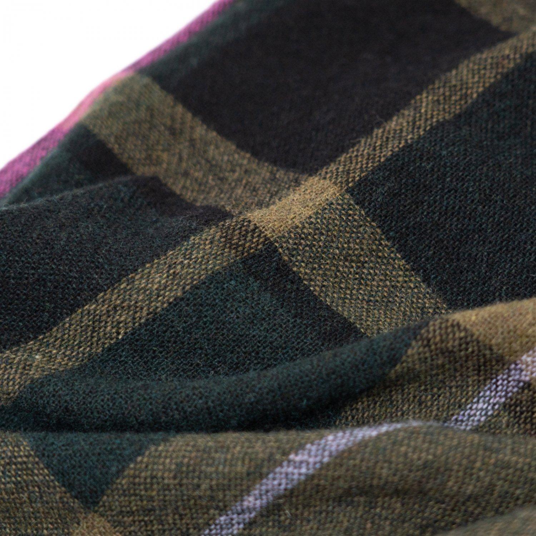 ts(s) * Large Pitch Color Plaid Wool Nylon Cloth Drawstring Wide Pants * Green
