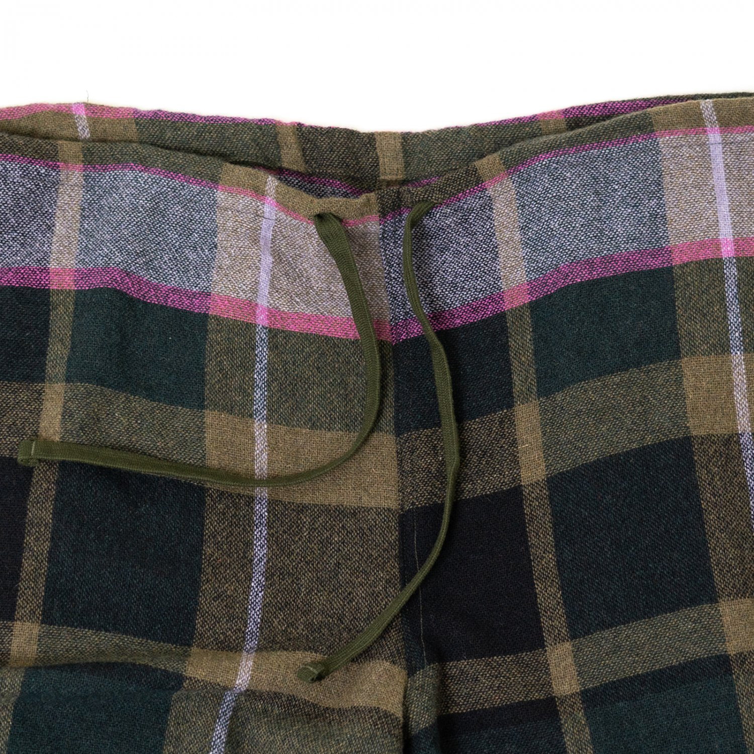 ts(s) * Large Pitch Color Plaid Wool Nylon Cloth Drawstring Wide Pants * Green