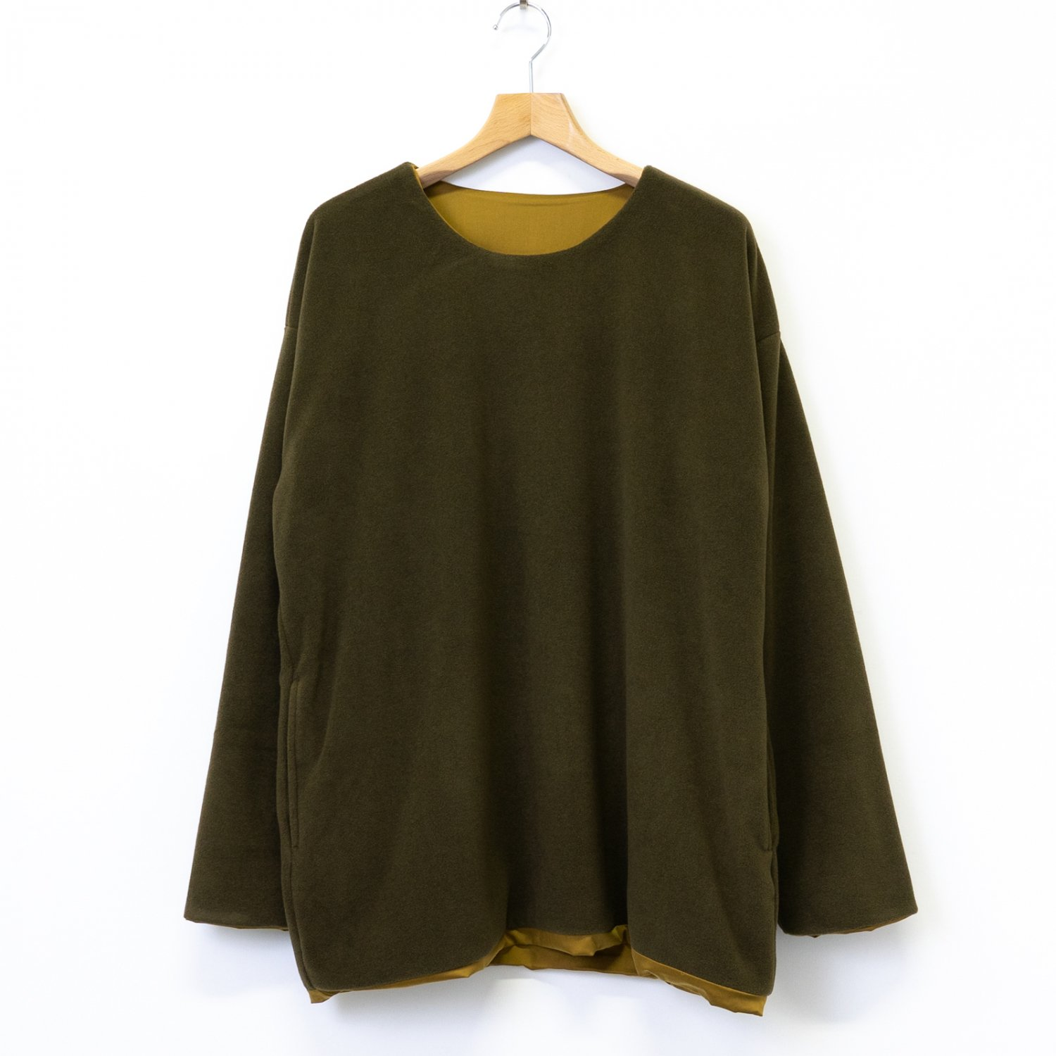ts(s) * Italian Polyester Viscose Fleece Jersey Reversible Easy Shirt * Olive