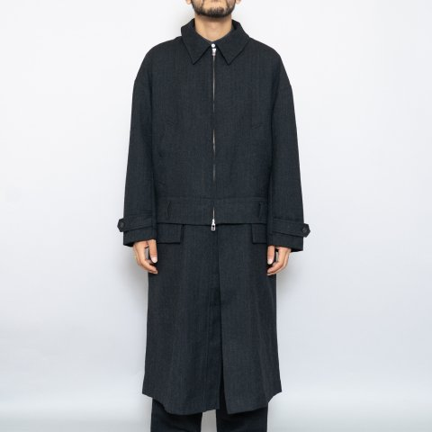 meanswhile * Alpaca Herringbone Split Over Coat * Coal