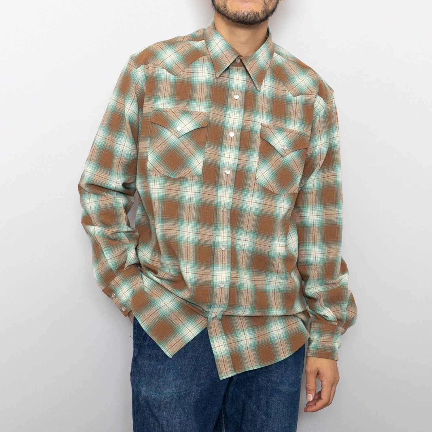 UNUSED * US1816 Ombre Check Western Shirt * Brown×Green