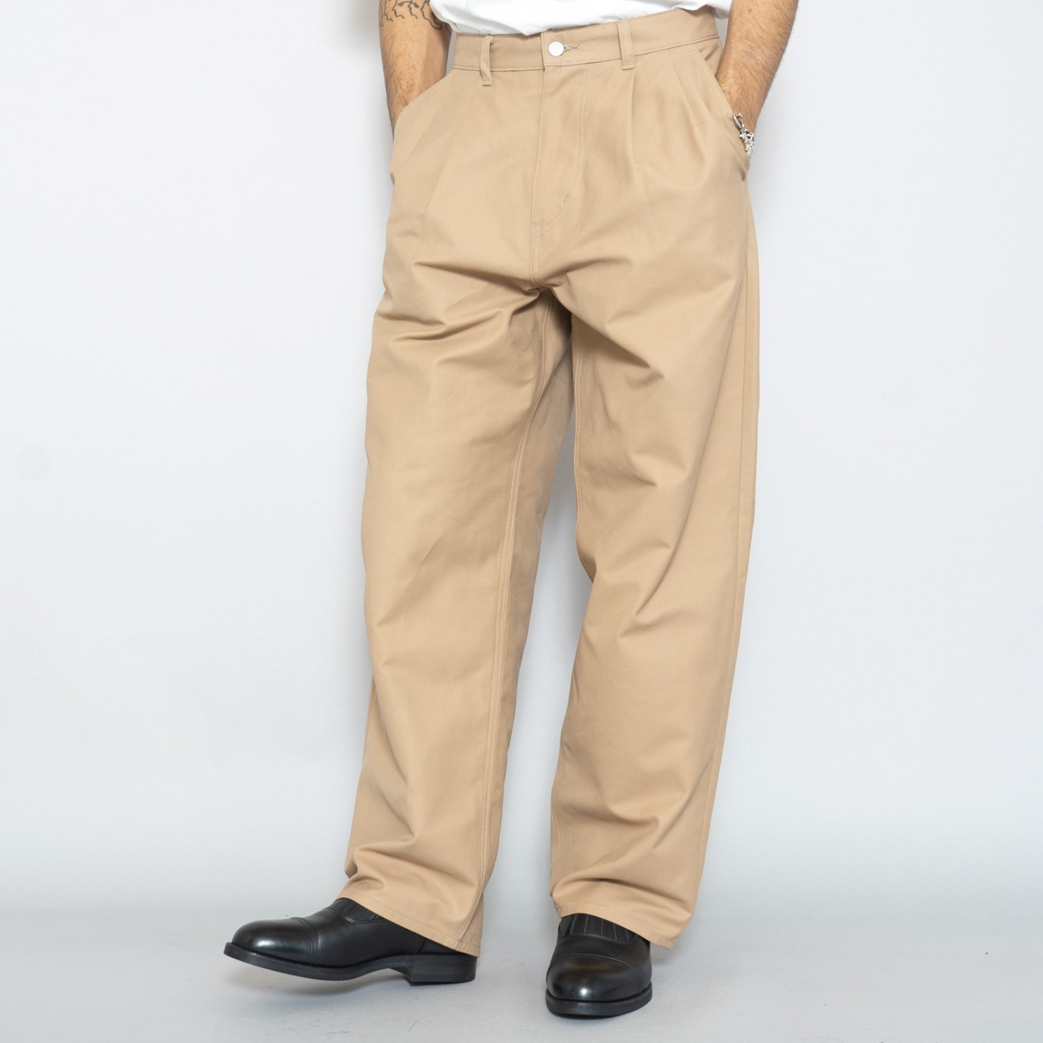Graphpaper * Double Cloth Peach Two Tuck Pants * Beige