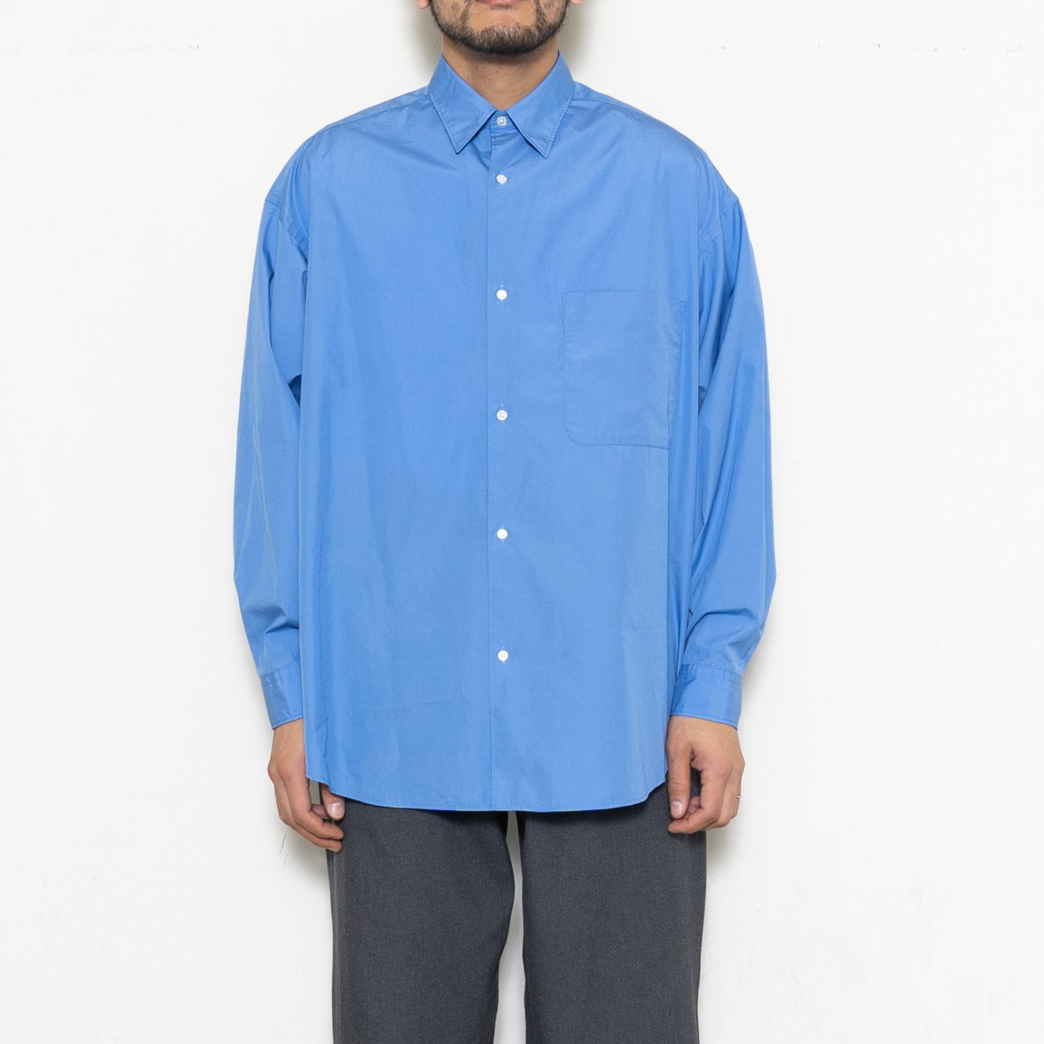 Graphpaper * Broad Oversized L/S Regular Collar Shirt * Blue