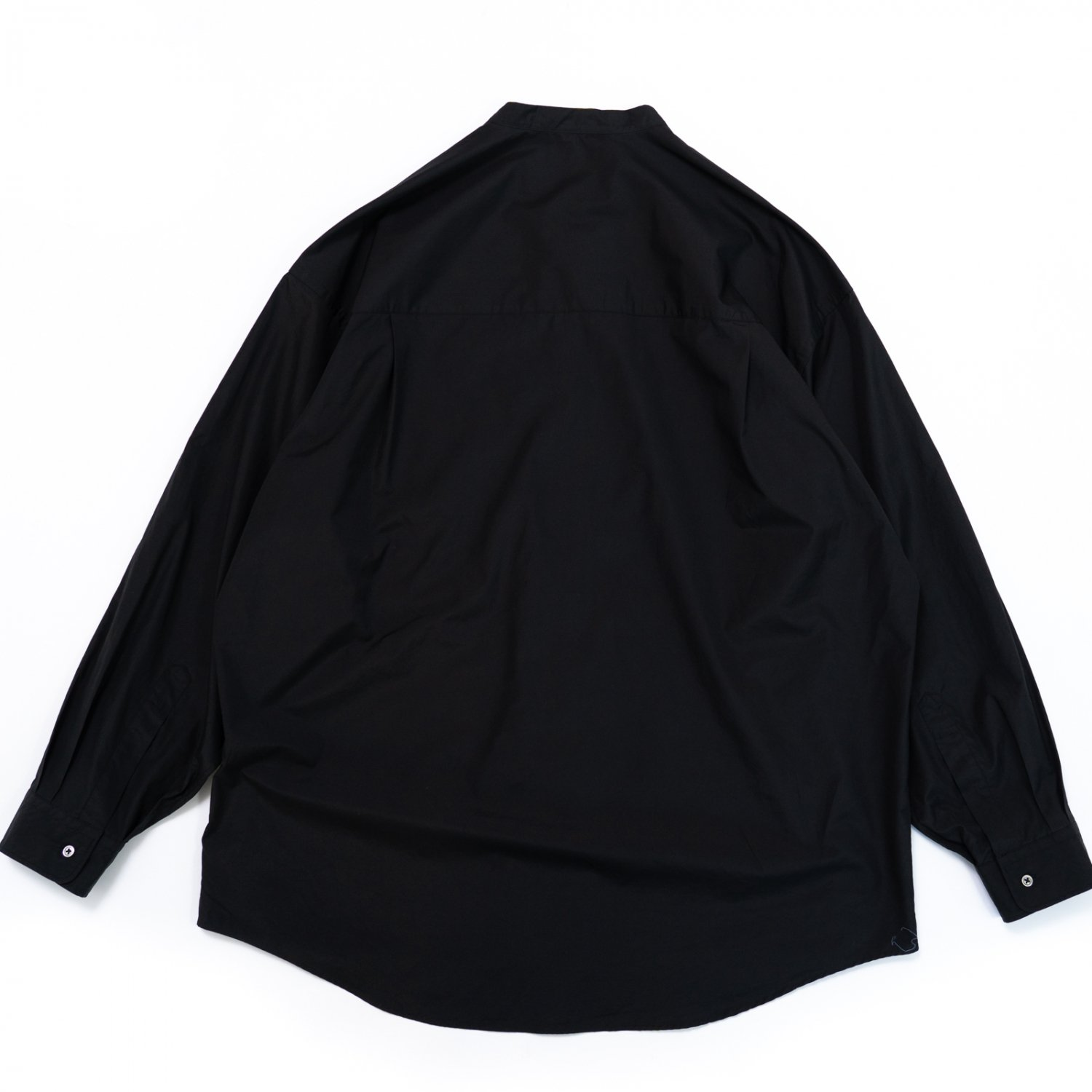 Graphpaper * Broad Oversized Band Collar Pullover Shirt * Black