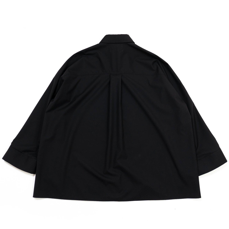 Graphpaper * Fine Wool Tropical Yoke Sleeve L/S Shirt * Black