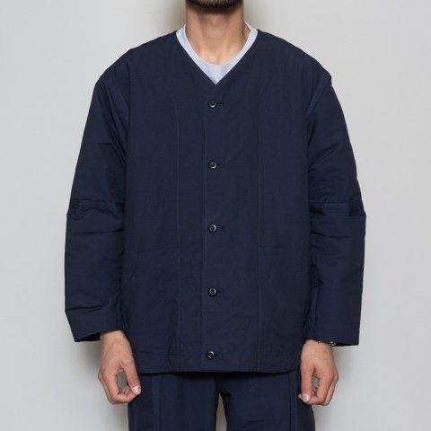 ts(s) * Nylon-Monofilament&Cotton Double Face Cloth Reversible Seam Taping Collarless Jacket * Navy