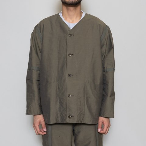 ts(s) * Nylon-Monofilament&Cotton Double Face Cloth Reversible Seam Taping Collarless Jacket * Olive