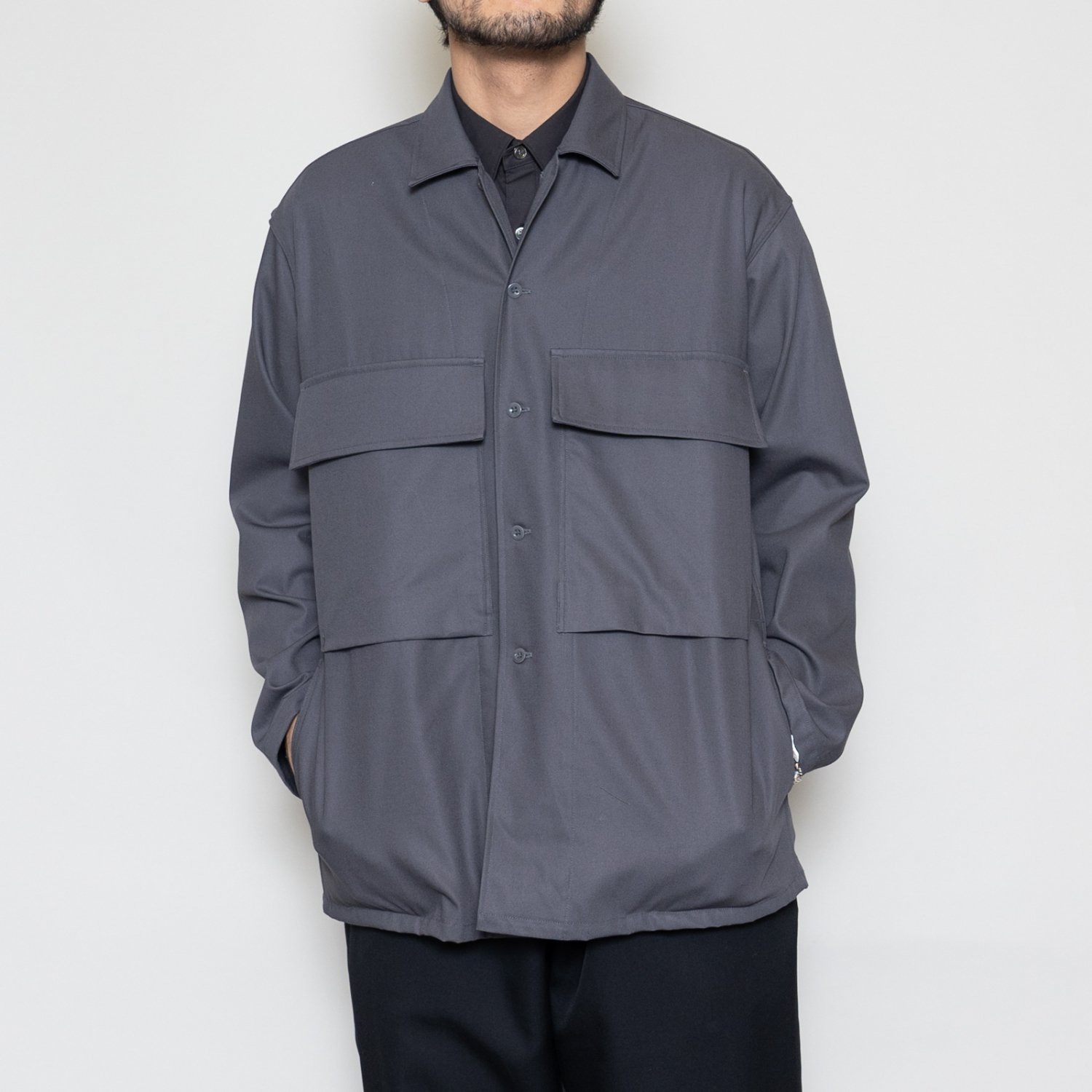 Graphpaper * Wooly Cotton Military Jacket * C.Gray