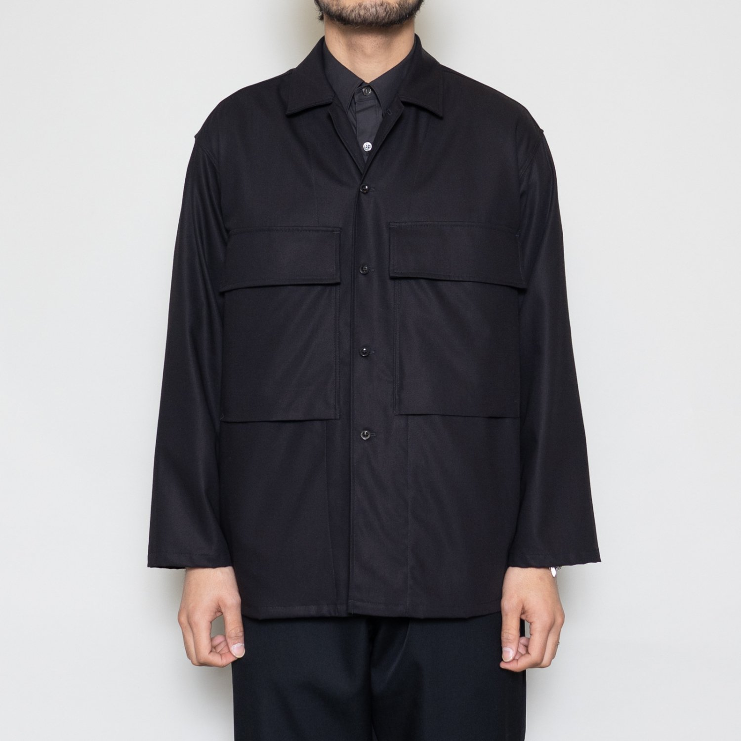 Graphpaper * Wooly Cotton Military Jacket * Black
