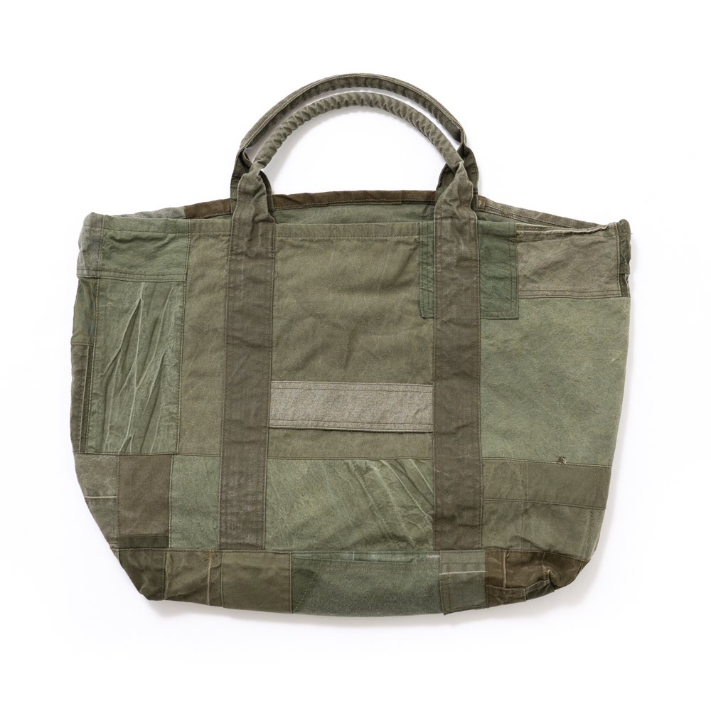 hobo * COTTON US ARMY CLOTH PATCHWORK TOTE BAG L * Olive A