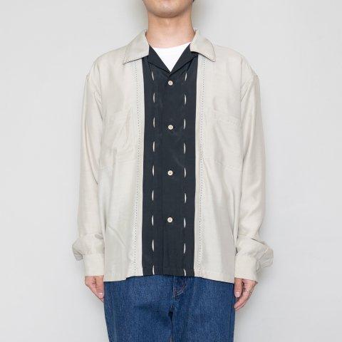 UNUSED * US1974 Rayon Long Sleeve Open Collar Shirt * Beige